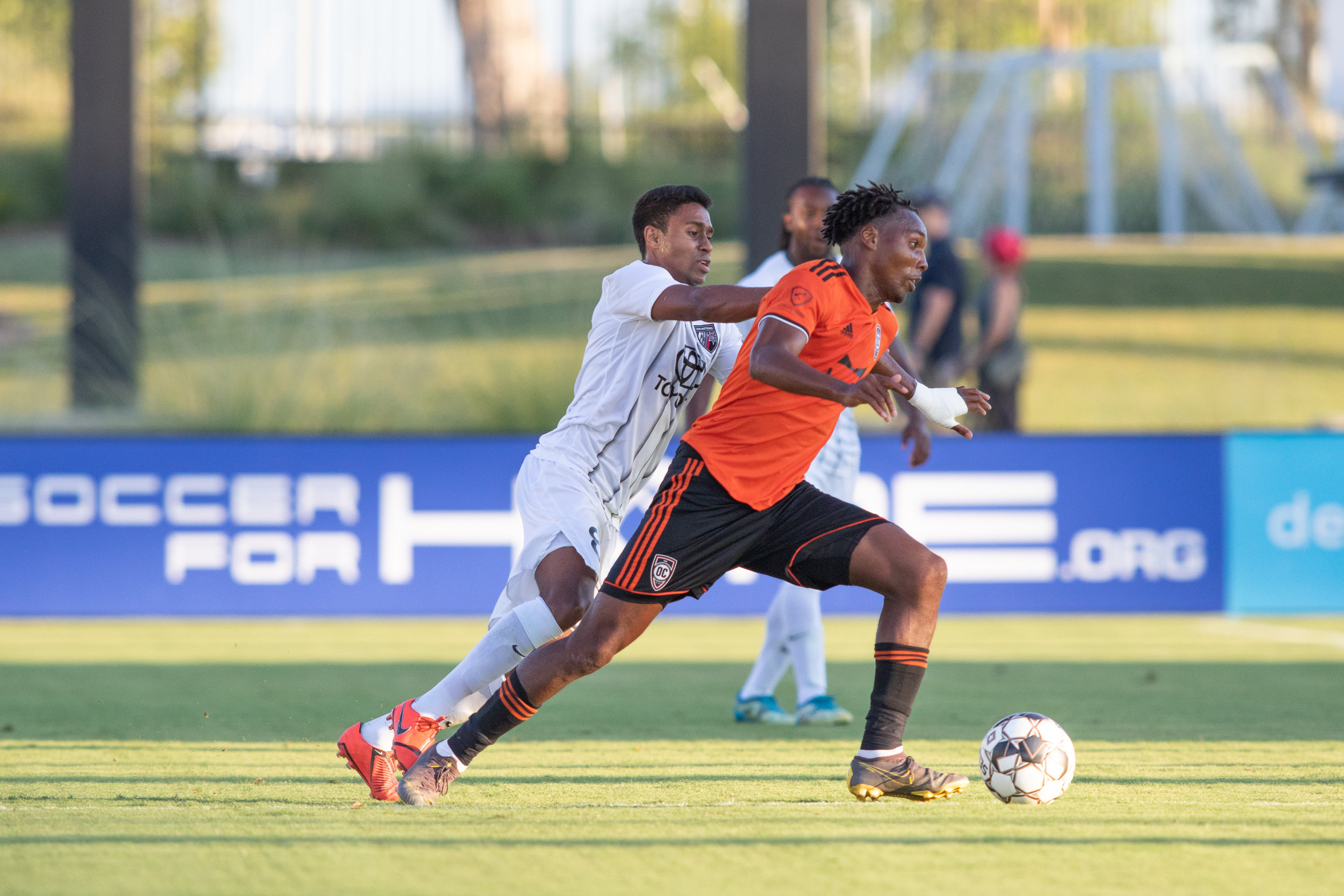 Michael Seaton (right) has found success with Darwin Jones in the side. Both men have each scored eight goals in 20 appearances.  Photo credit: Liza Rosales/Orange County SC .