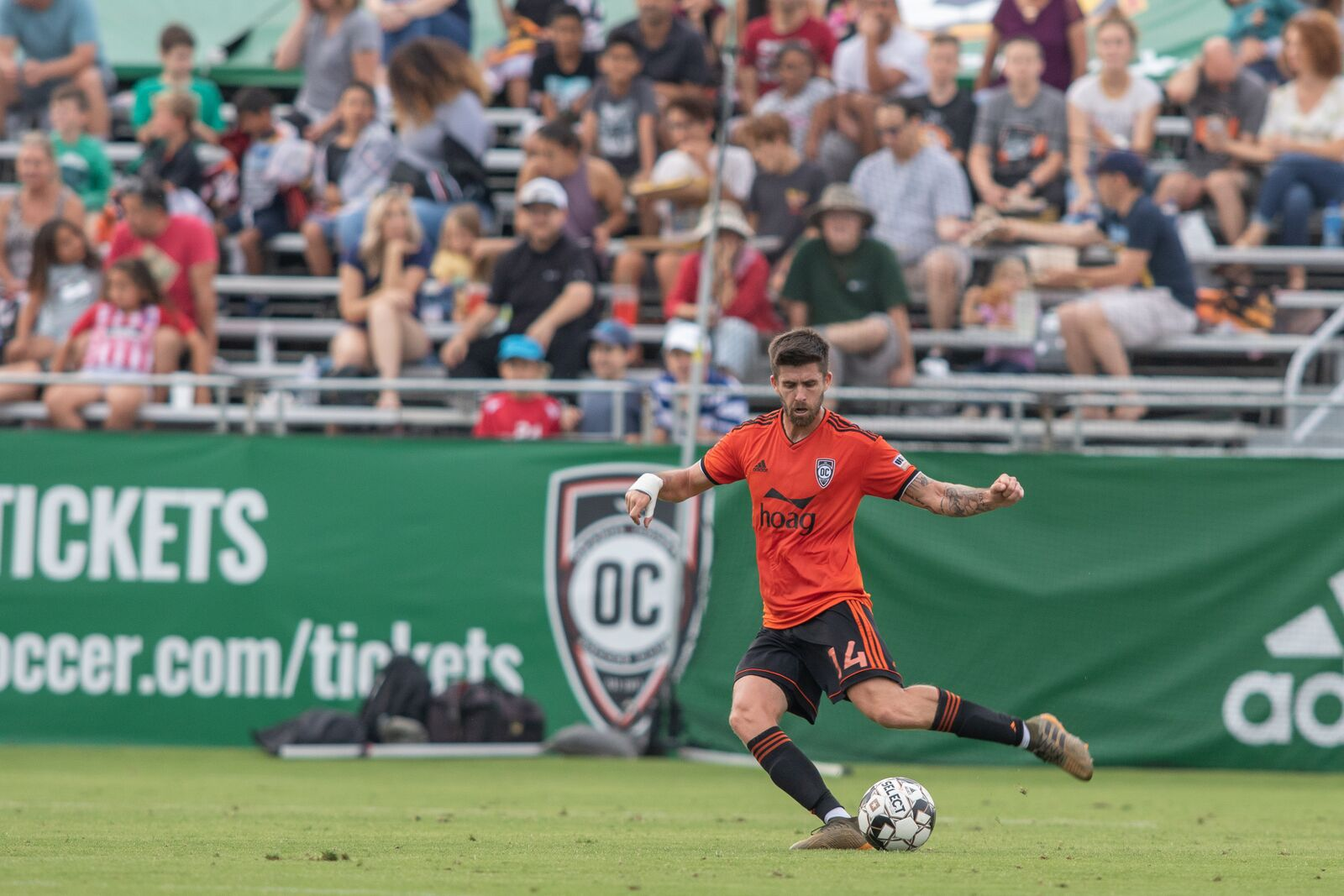 Quinn and his left foot nearly found a brace as his 90th minute free kick clanged off of the post.  Photo courtesy of Liza Rosales/ Orange County SC.