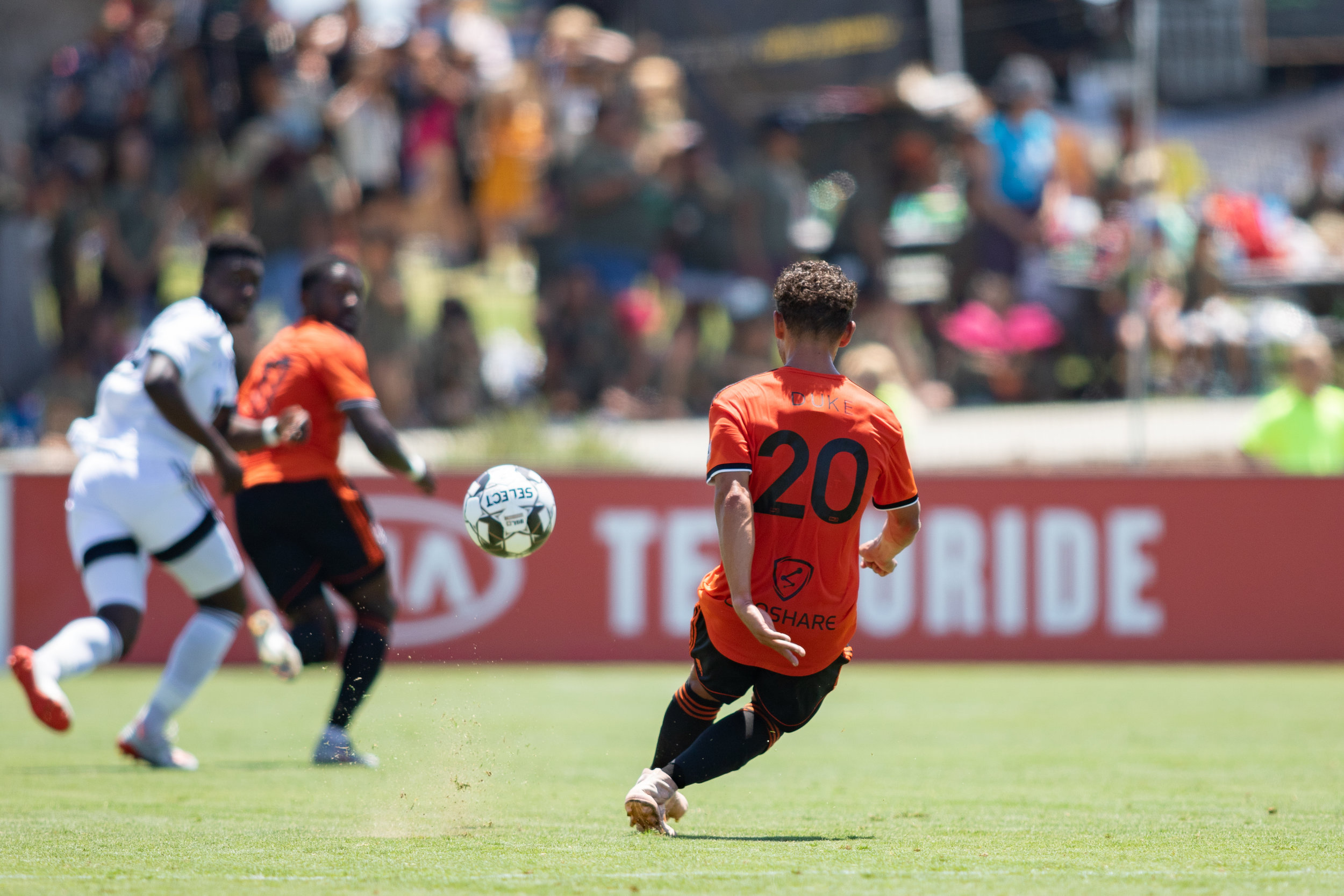 Christian Duke (20) has made all the difference after his return for injury, reunited with Aodhan Quinn in the heart of the midfield.  Photo Courtesy of LIza Rosales/Orange County SC .