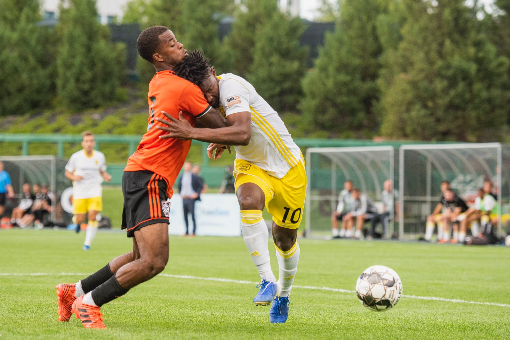 Orange County SC defender Joe Amico battles New Mexico United forward Kevaughn Frater for the ball.  |   Photo courtesy of New Mexico United