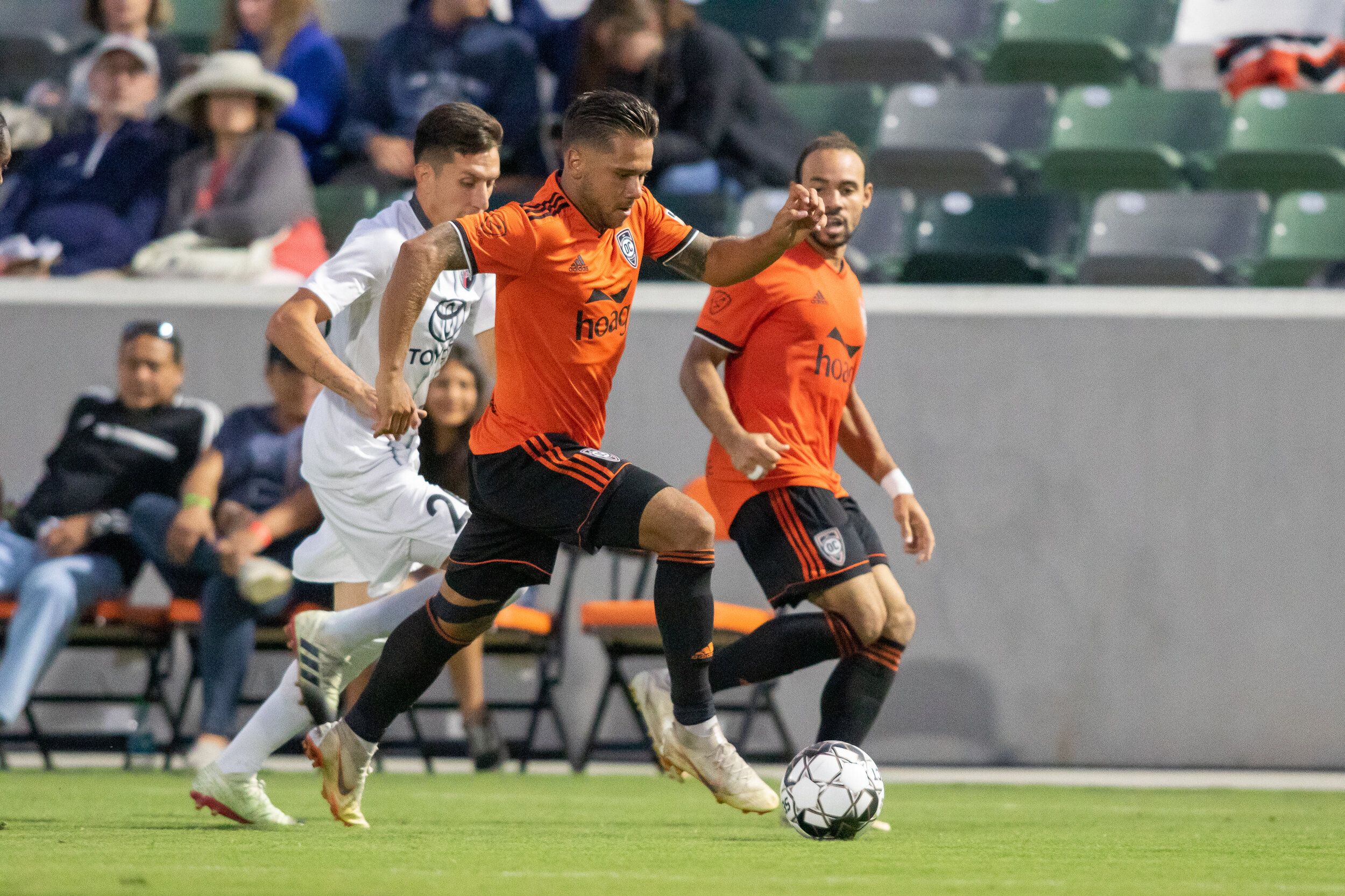 Harry Forrester has found his form in the last few weeks, turning his team-leading chances created into assists.  Photo courtesy of Liza Rosales/Orange County SC .