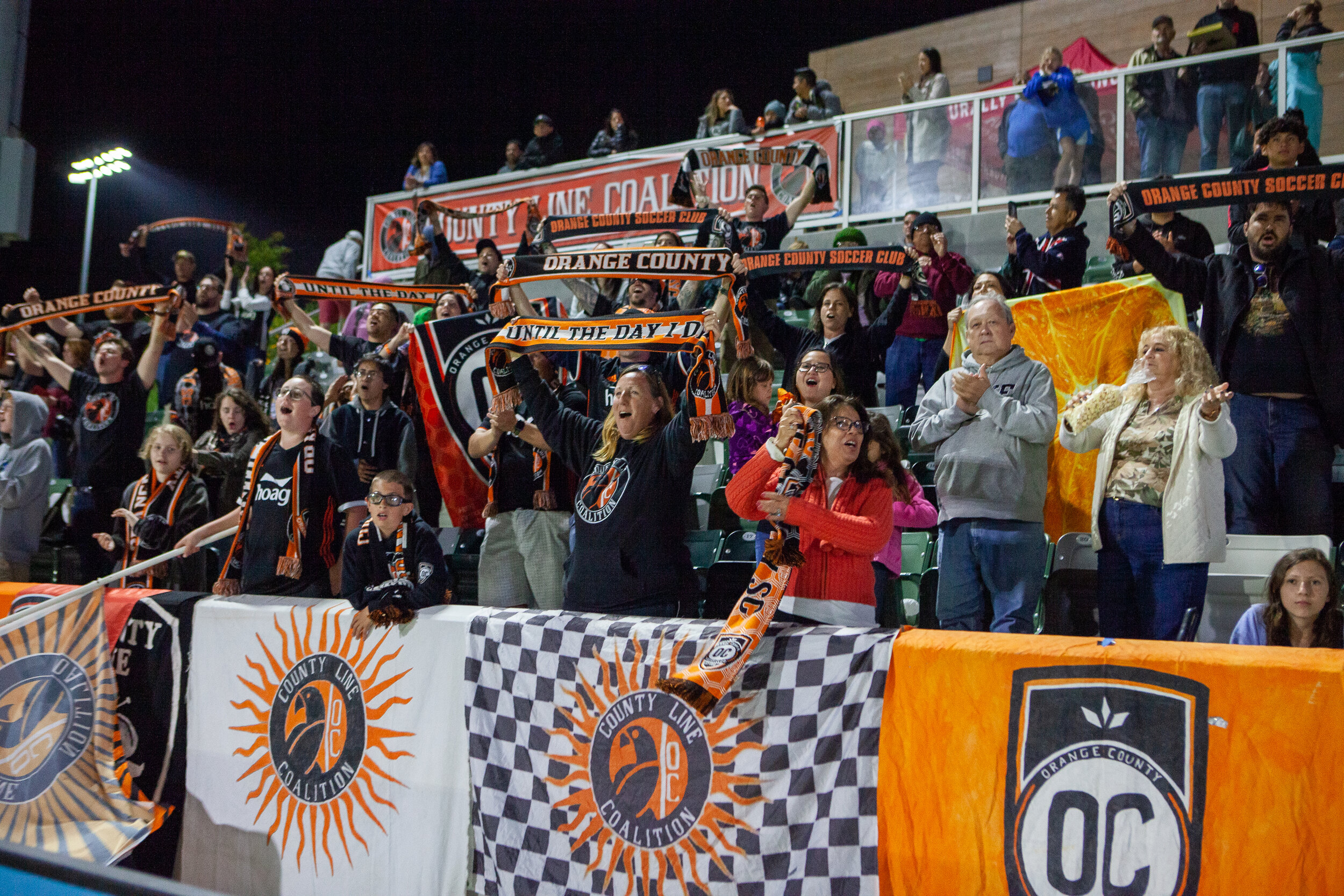 County Line Coalition chanting at a recent match. |  Photo courtesy of Orange County SC/Liza Rosales