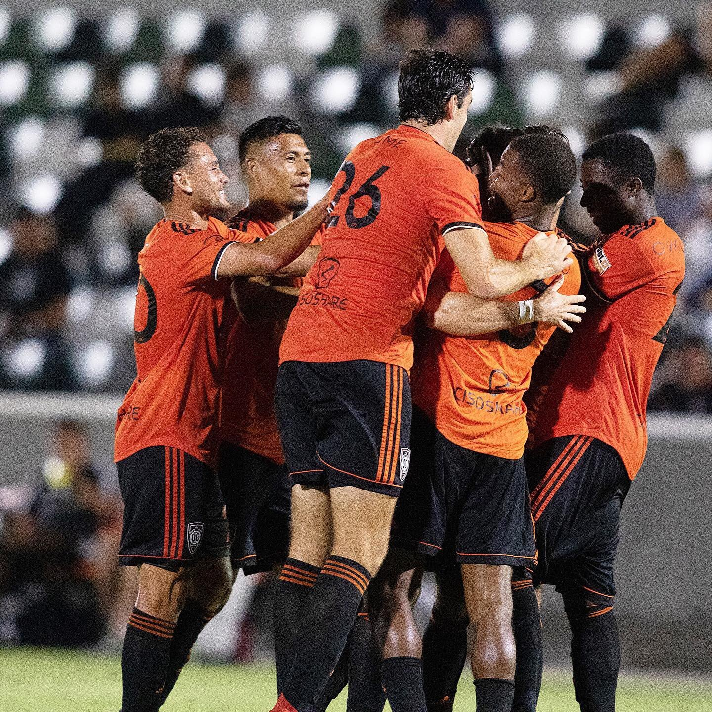 Orange County SC players celebrate after scoring a goal in their 3-1 victory over Real Monarchs on August 24, 2019 at Championship Soccer Stadiium. |  Photo courtesy of Orange County SC/Liza Rosales