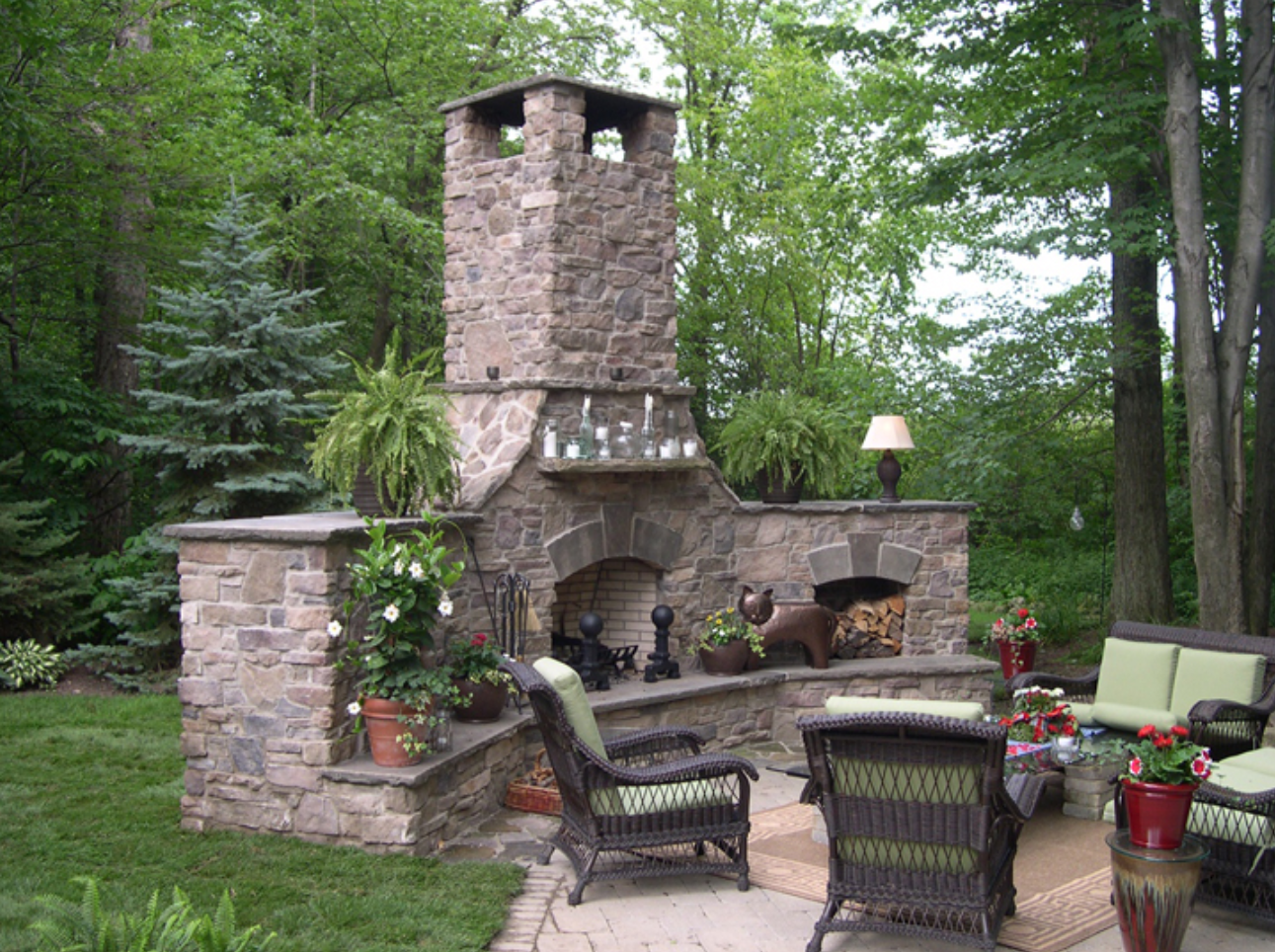 Brick patio with outdoor fireplace in Chagrin Falls, Ohio