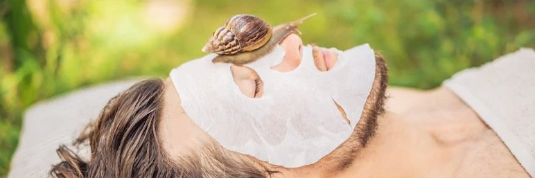 Snail slime skincare on face