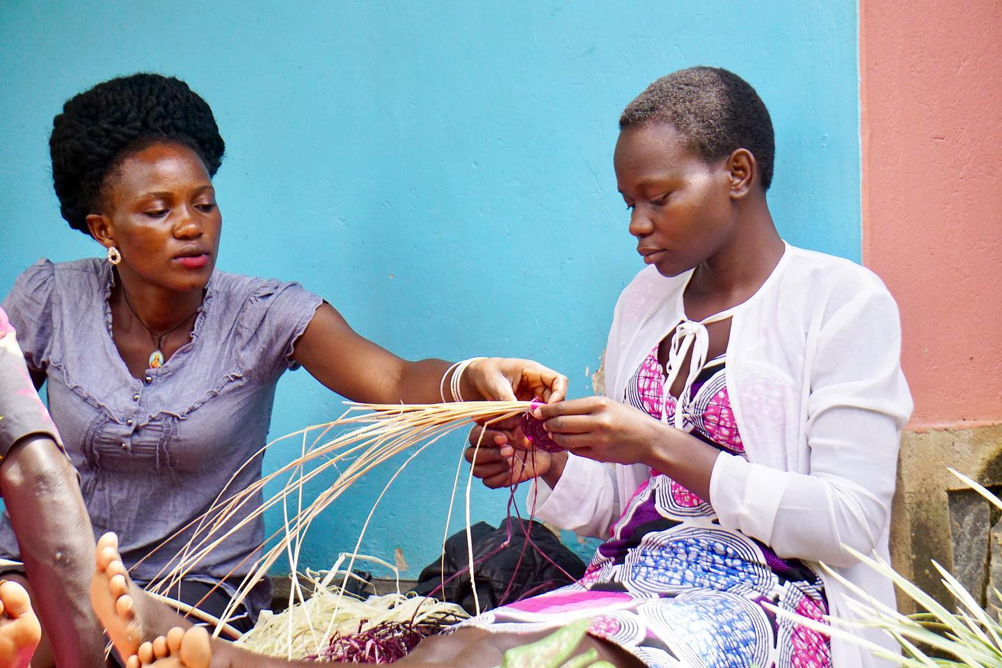 basket weaving - Our basket workshops are led by Phionah, a Ugandan entrepreneur and expert basket weaver in Kampala. Phionah travels 6 hours north to spend 3 days with our artisans teaching them unique techniques and investing in their potential. Her insight + encouragement allowed for the Artisans to thrive with this new skill and she even hired artisans for her business after our workshop.