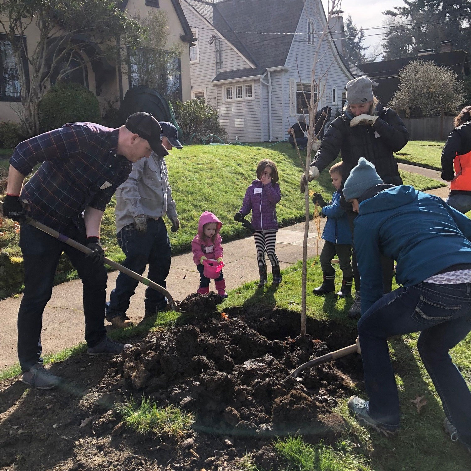 NW Natural employees dig in to neighborhood plantings with Friends of Trees.