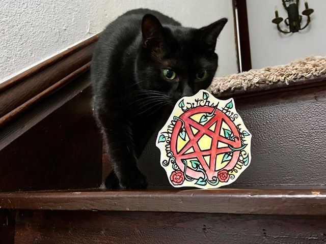 My beautiful cat Jet inspecting some of my witchy art  #blackcat #paganart #witchy #somethingwitchy #witches #pentacle #cat