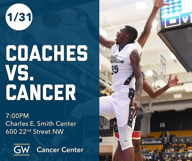 Tonight! Come join The George Washington University (GW) Cancer Center support the Colonials Men's Basketball team as they  take on the Dukes of Duquesne for our Coaches vs Cancer game.  For tickets visit: http: //ow.ly/6A9Q30i7A7t