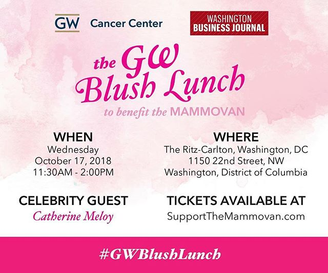 Join us at the #BlushLunch on 10/17 and hear from breast cancer patients and survivors about how the Mammovan and GW Breast Center saved their lives. Buy your ticket today: supportthemammovan.com/blush-lunch #BreastCancerAwareness  #GWBlushLunch