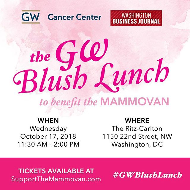 Looking forward to the #GWBlushLunch on 10/17. Join us and support #TheMammovan. More info and tickets: http://www.supportthemammovan.org  #BreastCancerAwareness