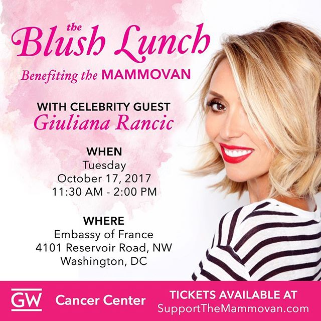 Join us at the #GWBlushLunch on October 17 to support The Mammovan! The Mammovan makes life-saving breast cancer screenings accessible and affordable to ALL women in the DC area.