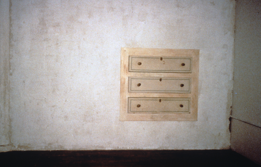 content (1997, front view). 9' x 10' x 2'. wood, plaster, found objects; fabricated