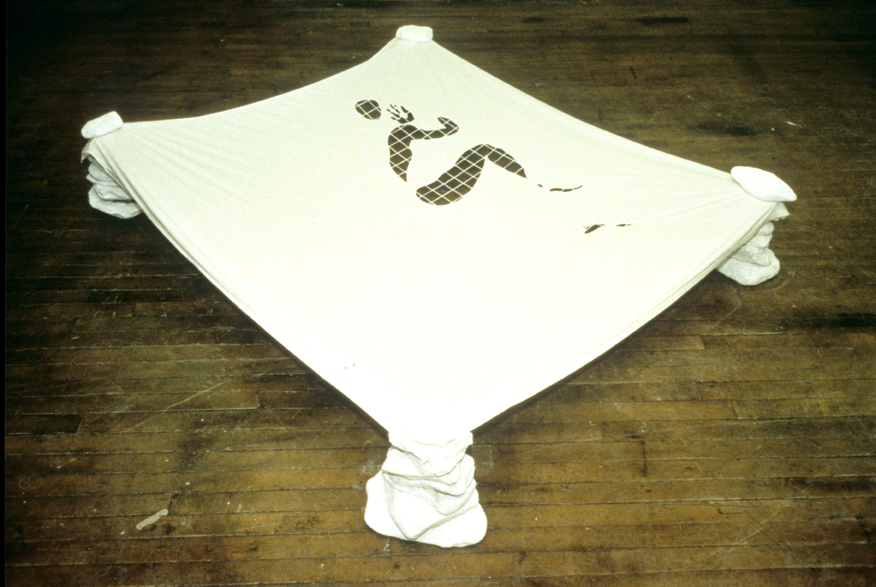 """Meer (1997). 8' x 8' x 20""""; cotton, stone, marble dust; embroidery"""