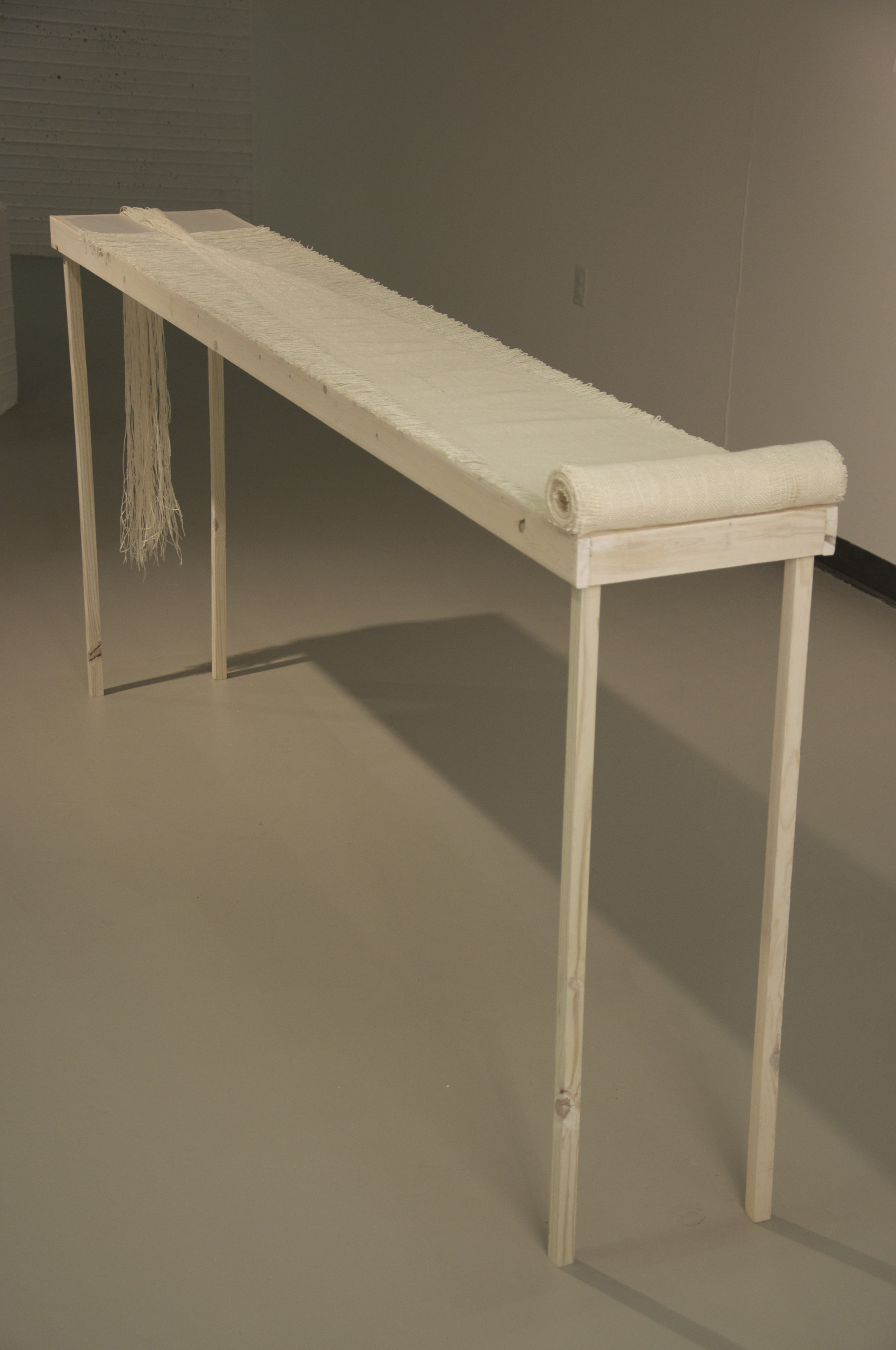 """Privilege of Aging (2011); 14"""" x 40"""" x 8'; linen, tracing paper, wood"""
