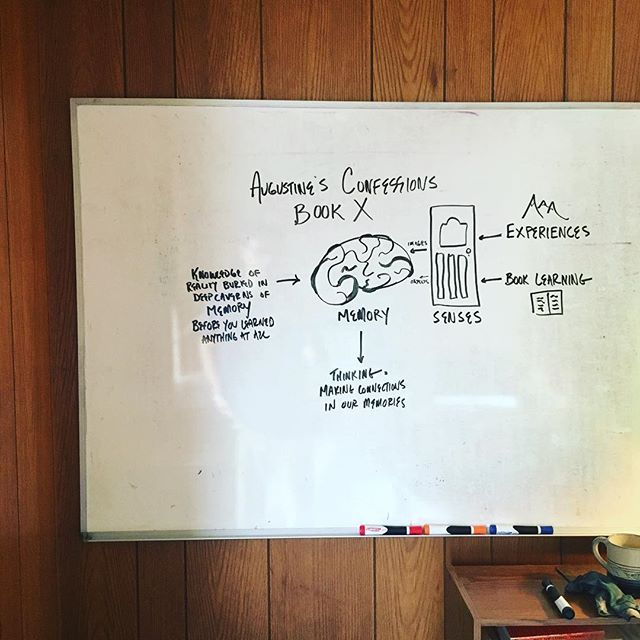 Talking with @cktygrett next week about Augustine's Confessions and memory on his @otherwisepod. Reviewing some of what Augustine wrote on memory in Book X. If you can't draw it, you probably don't get it yet. YouTube is so handy for learning how to draw simple things like brains and doors.