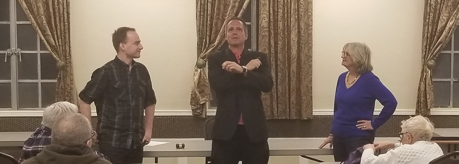Aaron O'Neal does a lecture as Jo Ann Brinkman and Chris Perisich get suckered into helping (2019)