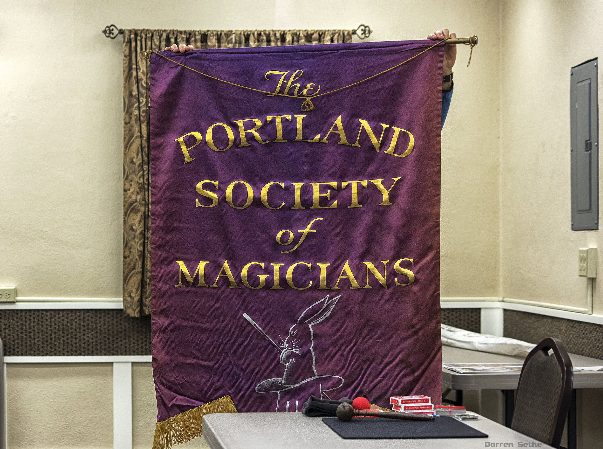 The PSM banner gets dusted off and comes out for a visit (photo by Darren Sethe 2019).