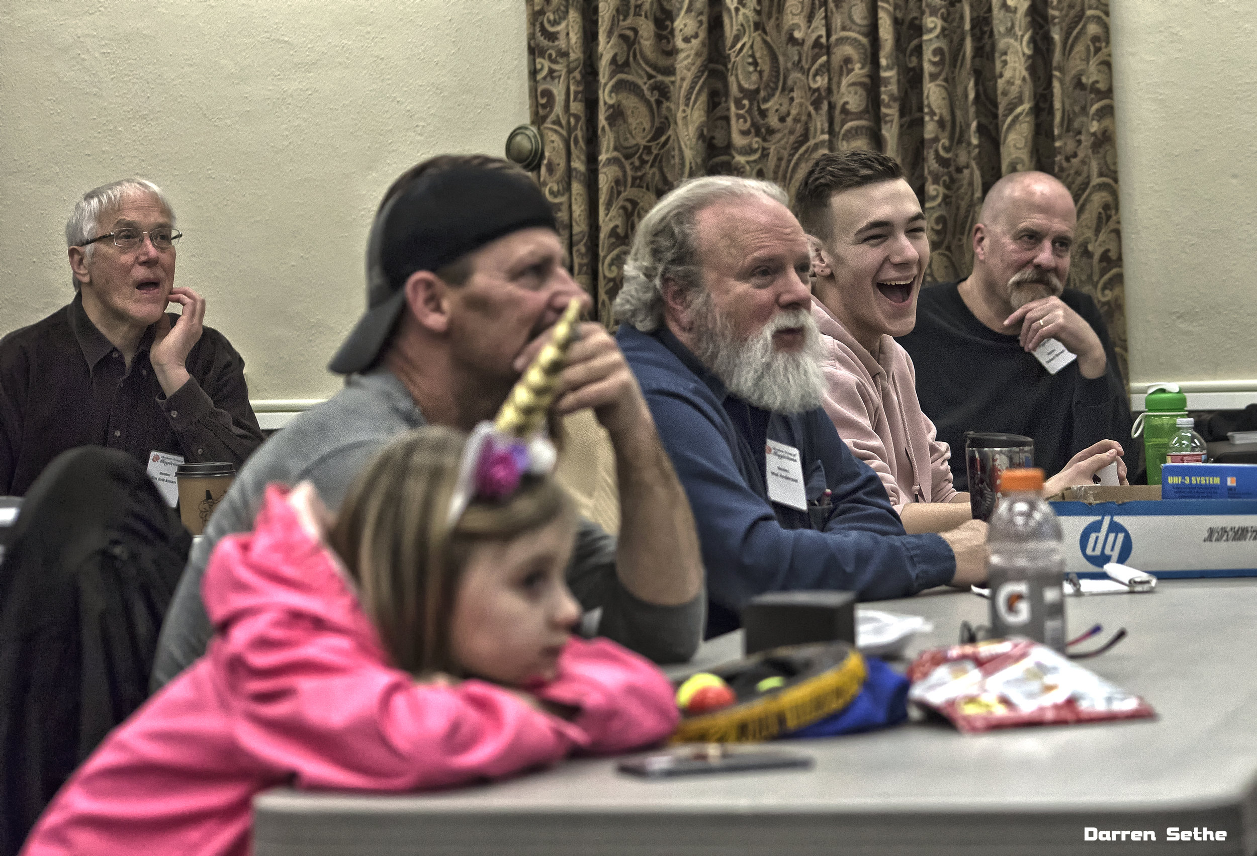 Jim Brinkman, Carey Heim, Mel Anderson, Robert Brown, Gaetan Delatour, and our special unicorn guest all deep in thought…2019. (Photo by Darren Sethe 2019).