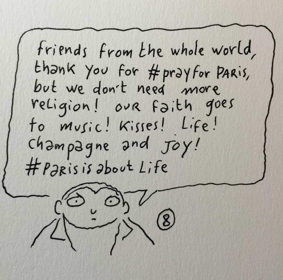 A response to the events in Paris from Charlie Hebdo cartoonist Joann Sfar.