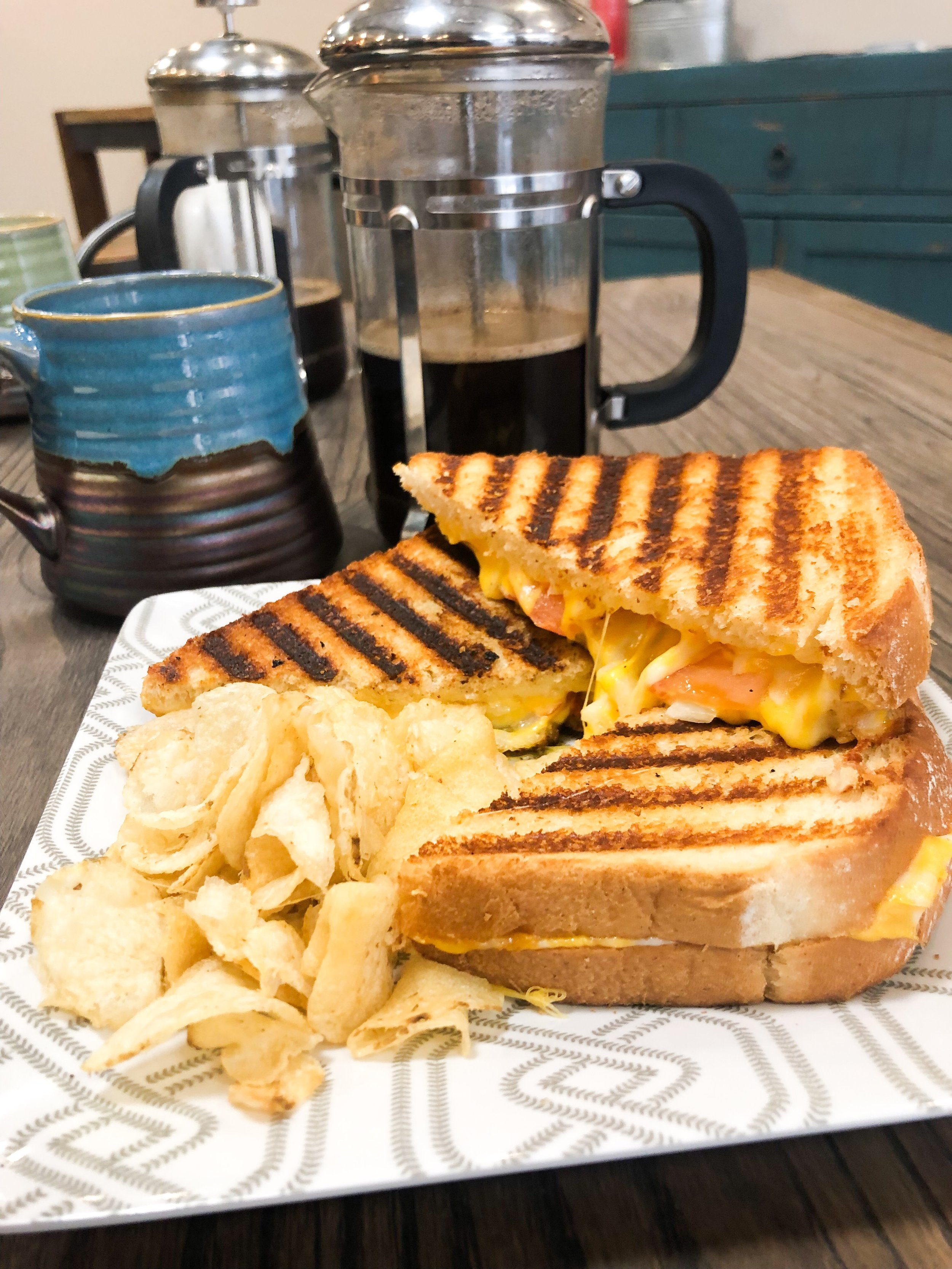 The Post-Segment Dunbri's Tomato Onion Grilled Cheese Sandwich & French Press Coffee.
