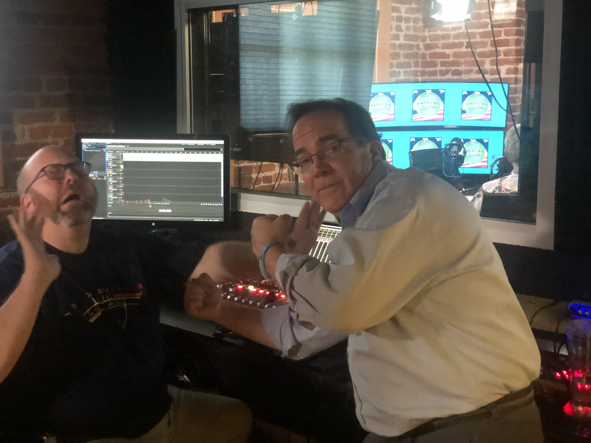 Rob & Podcast Village Founder, Charlie, showing off some Bruce Lee moves in one of the the Control Rooms. The vibe throughout the facility is one of contagious creativity.
