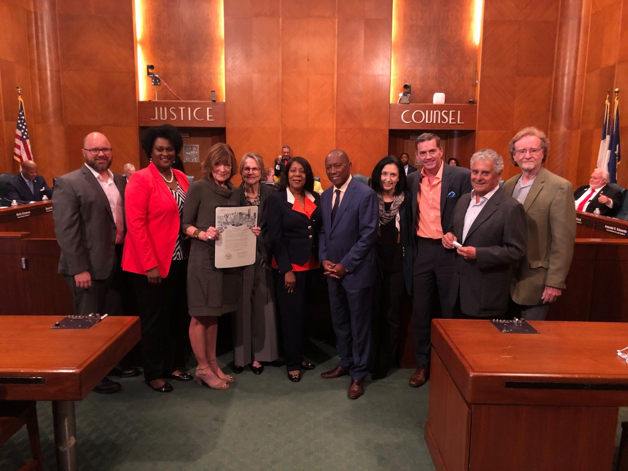 Celebrating 10 Years of Compassion in Action - October 22, 2019 - Compassionate Houston Board members and representatives of partner organizations receive a Proclamation from Mayor Sylvester Turner.