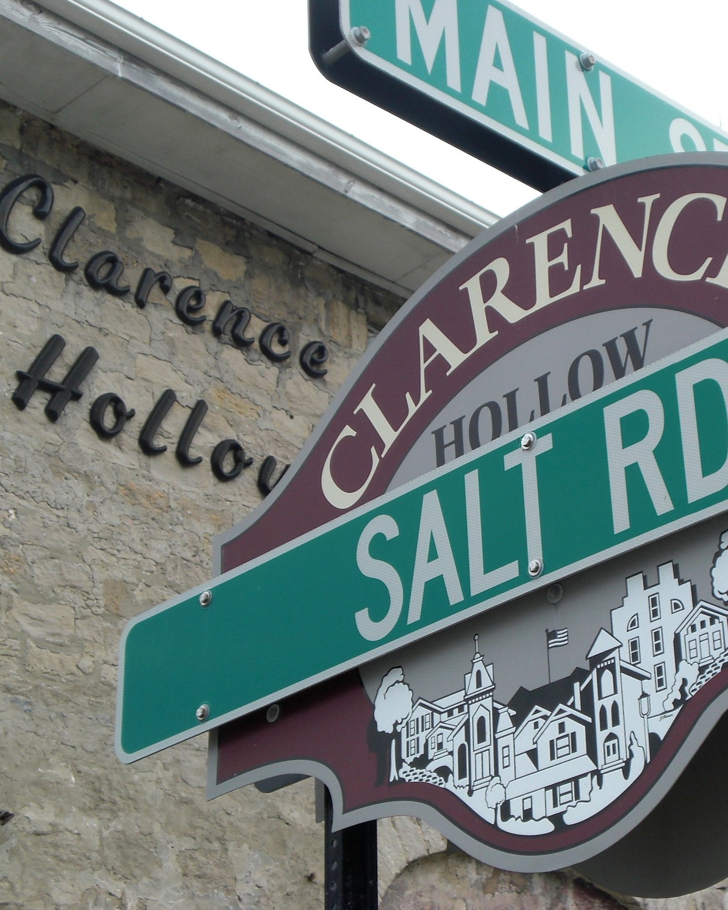 Screenprinted signage for Clarence Hollow, Clarence, NY