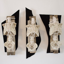 """Bones of No Color"" Hand made paper, wood, plastic, encaustic, string, black suede left, 16 "" x 6"" x 5"", center, 17"" x 5"" x 5"", right, 13"" x 7"" x 5"" ⓒ 2015 - 2017, Carol Brown, all rights reserved"