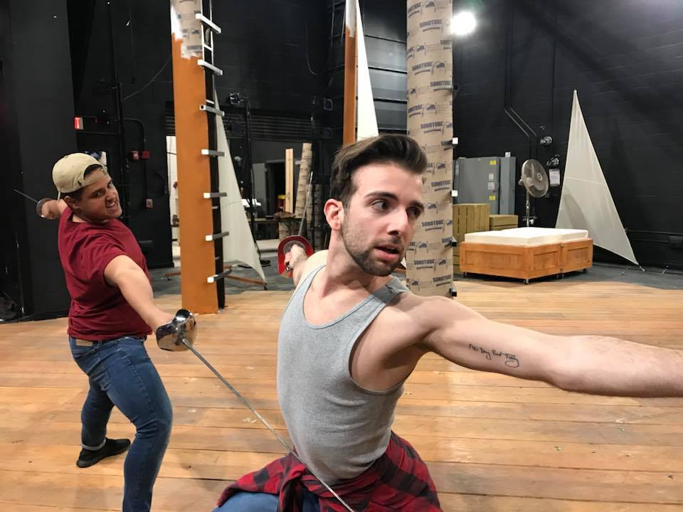 Fencing Rehearsal Photo from AFMOC by John Guare; directed by Peter Sampieri