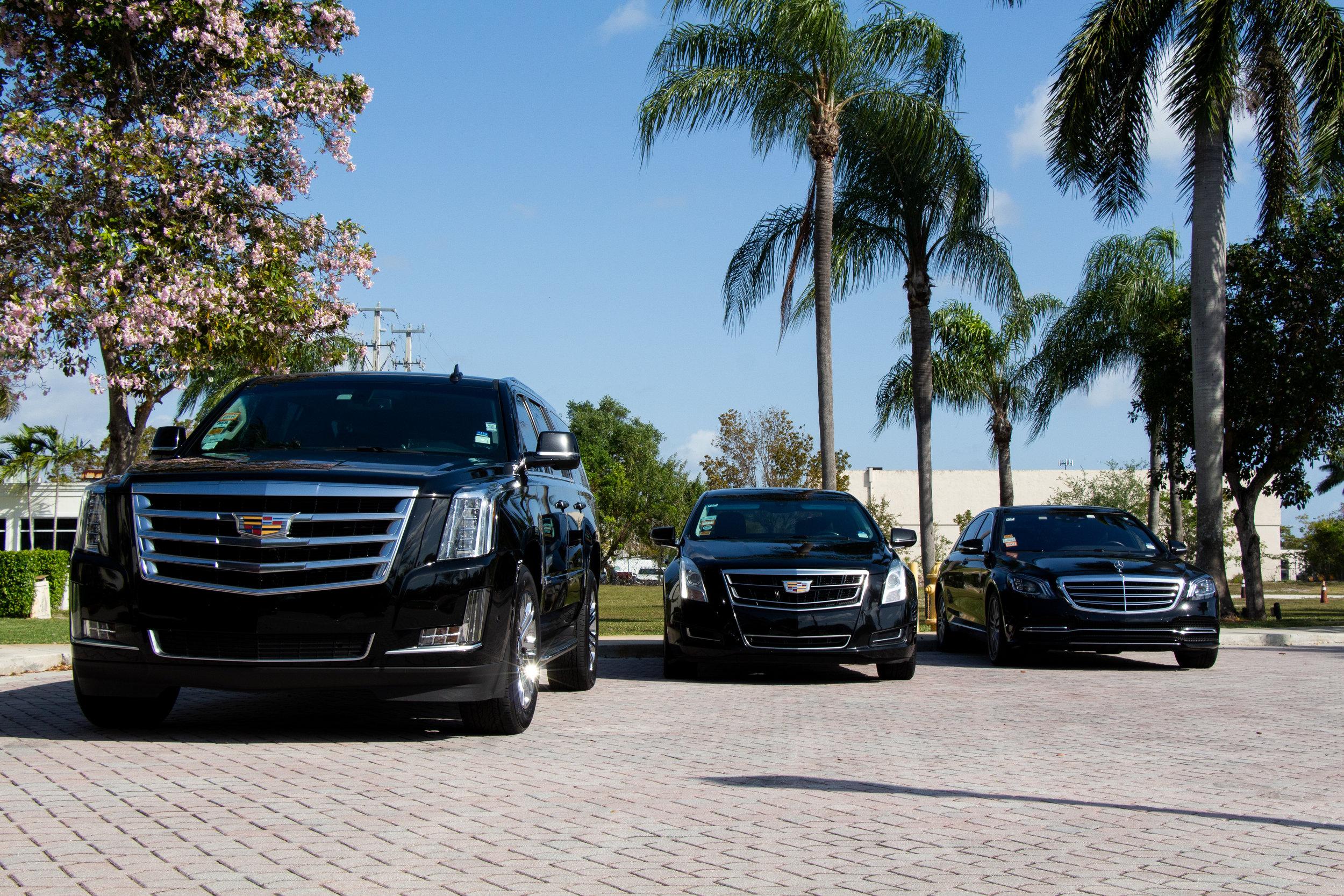 Cadillac Escalade ESV, Cadillac XTS, and Mercedes E350