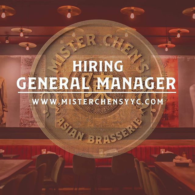 "We are looking for a General Manager to join our hard working and talented team! If you are a leader with experience managing in the industry, we want to hear from you. To apply head over to our website misterchensyyc.com and go to our ""hiring"" page to apply. Know someone who'd be prefect for this role? Tag them or send this their way. Qualified candidates will be contacted by our team. #wevibehard #misterchensyyc #eatlocal"