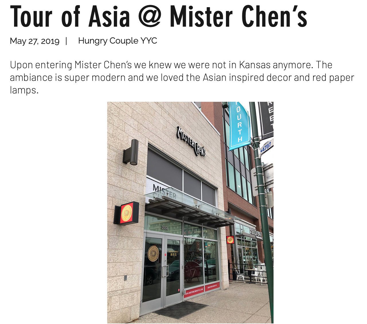 Mister Chen's Asian Restaurant Calgary