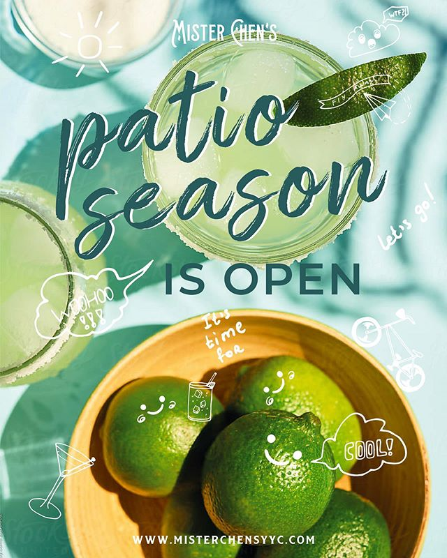 It's OFFICIAL our patio is now open! 🍾☀️🎉Patio season is here and we're joining in! Get together with friends, family, colleagues and enjoy the #yyc summer weather with our thirst-quenching cocktails and delicious seasonal dishes. #patio #eatlocal #yychappyhour #misterchensyyc #wevibehard
