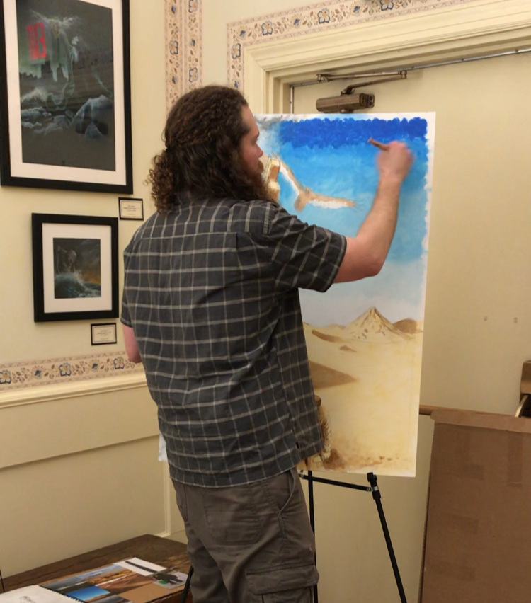 Artist-in-residence Nick Gurley working in the Albright Building in 2018.