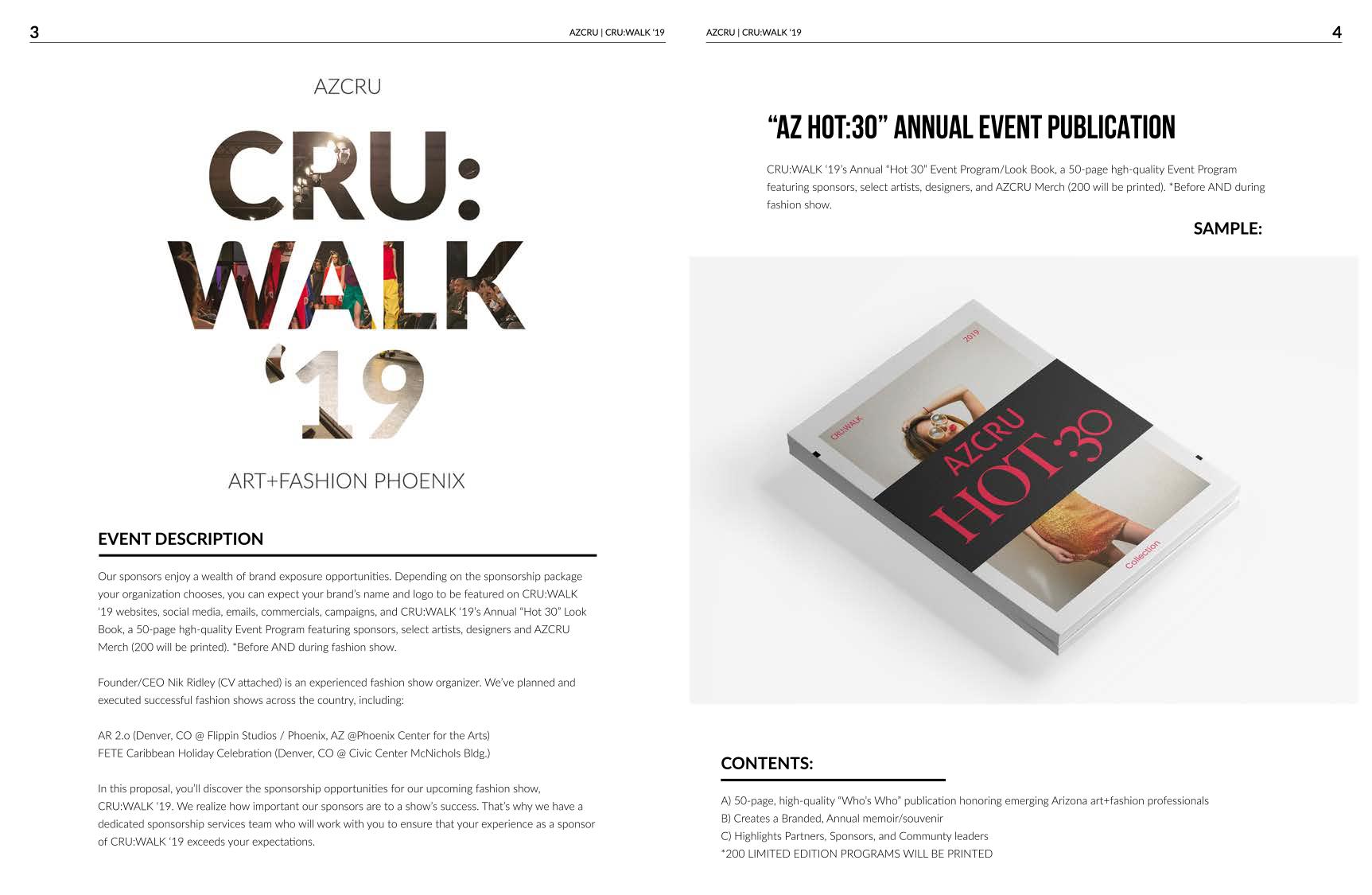 """CRU:WALK '19 description + AZCRU """"HOT:30"""" Annual Event Publication"""