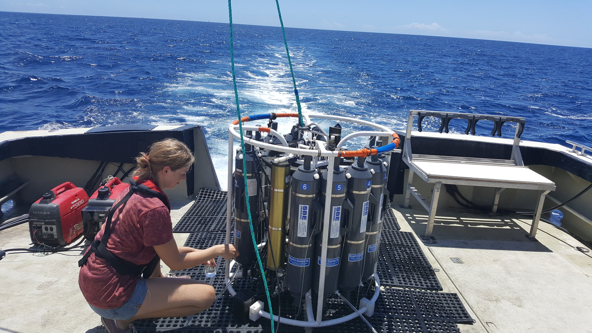 Collecting water samples from CTD cast for SWAC
