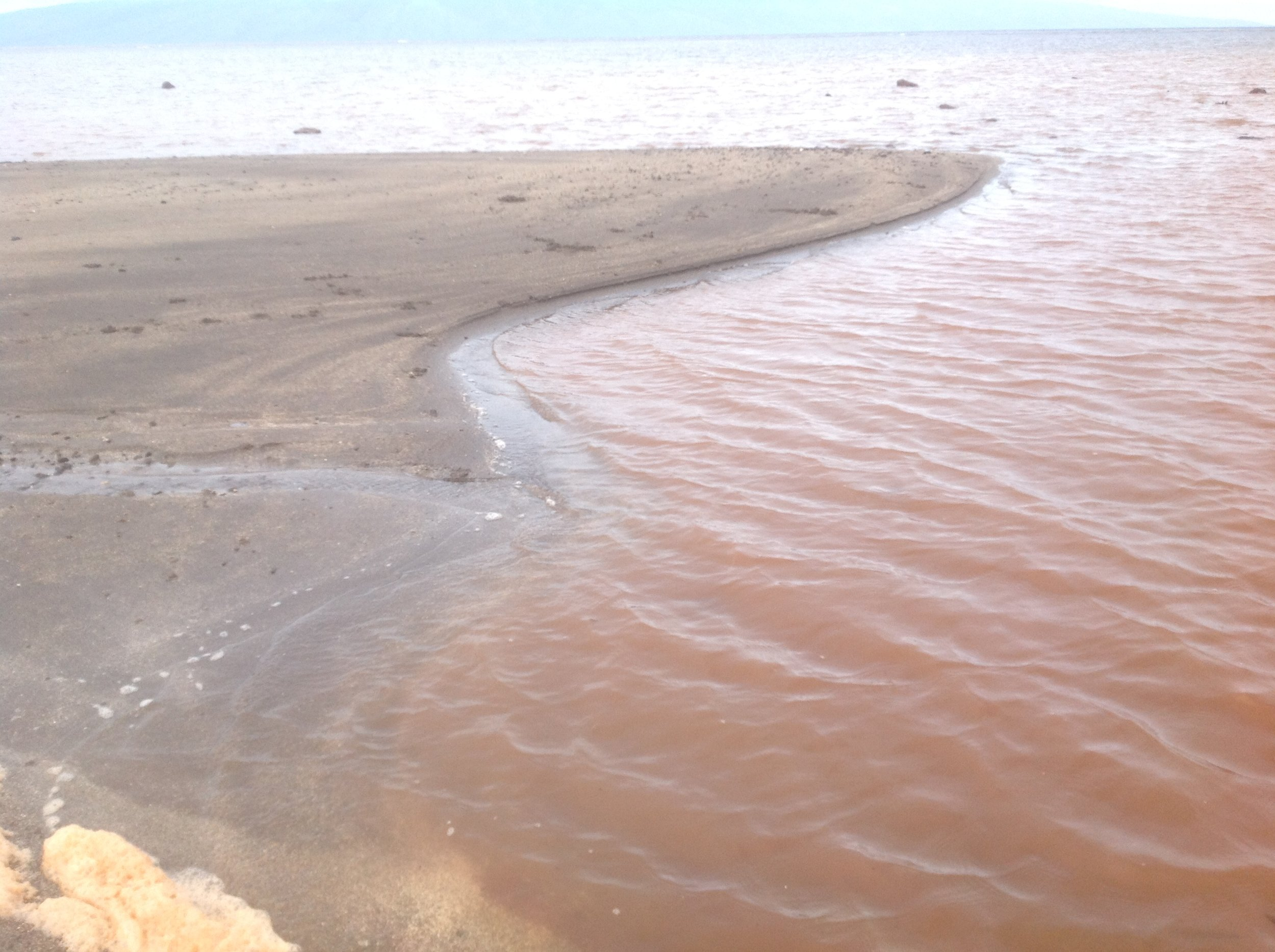 Brown water after strong sediment erosion on Lanaʻi