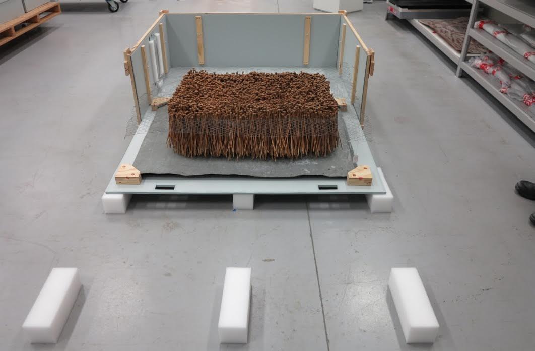 Delicate Rosalie Gascoiyne sculpture sliding travel crate.jpg