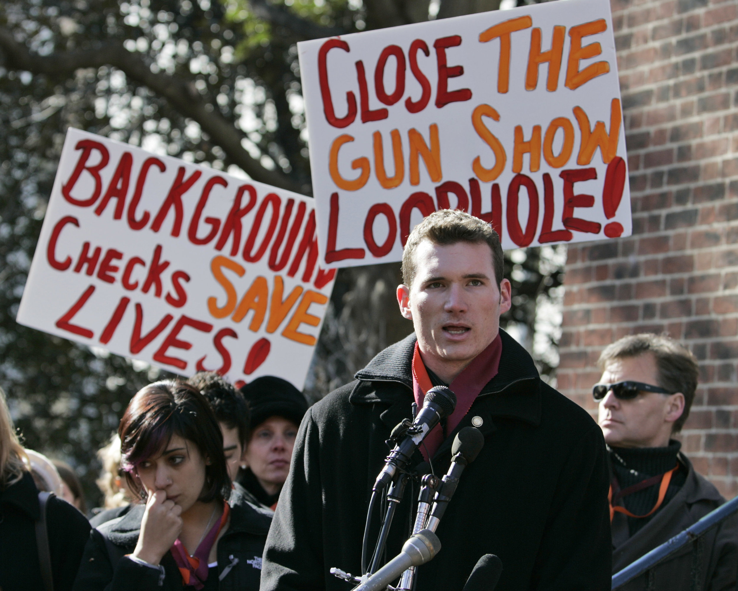 Colin Goddard spoke at a gun safety rally at Richmond's Capitol Square in 2008. (Steve Helber, Associated Press)