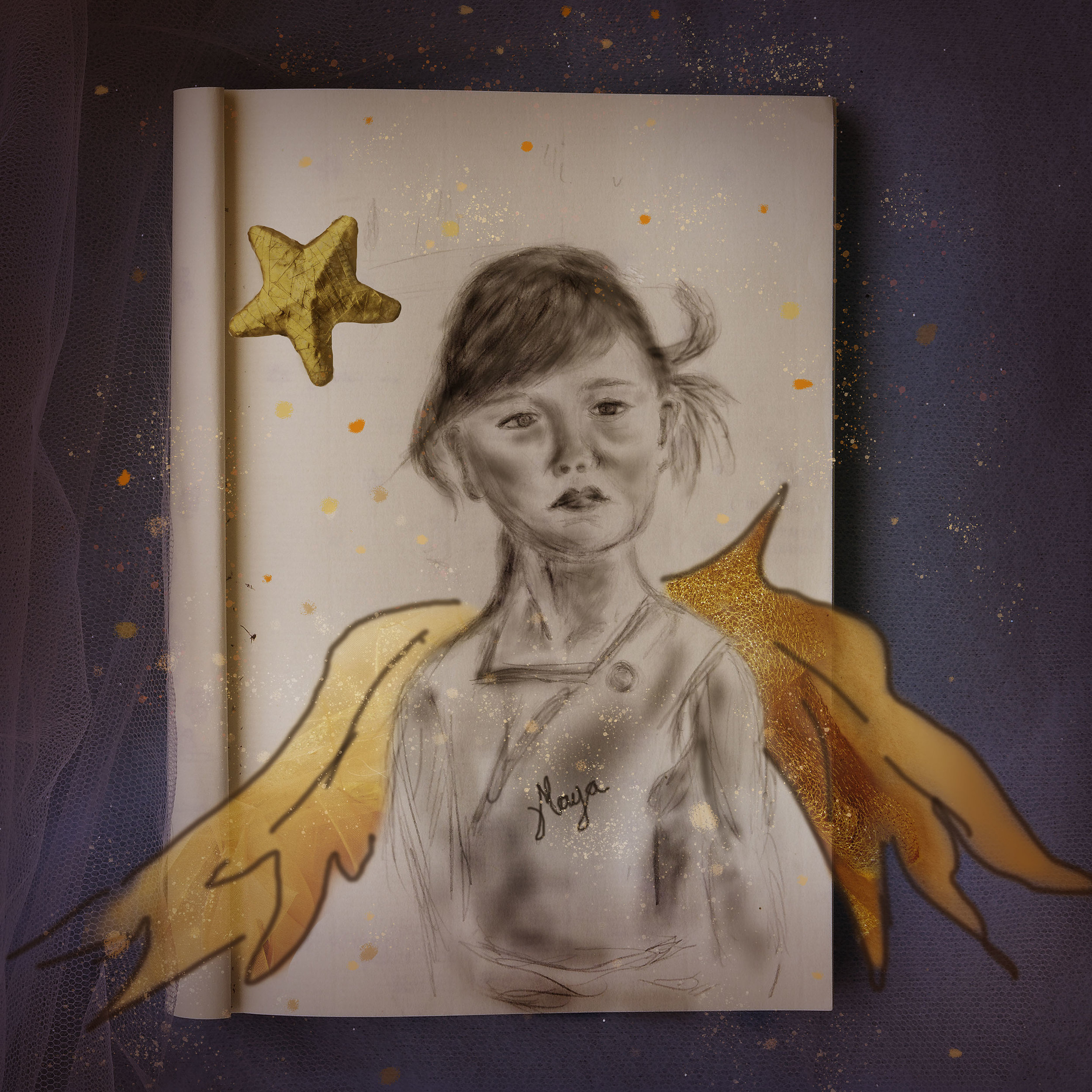 Storyboard sketches - Maya sketch of a childhood photograph and a distinctive look which inspired the piece