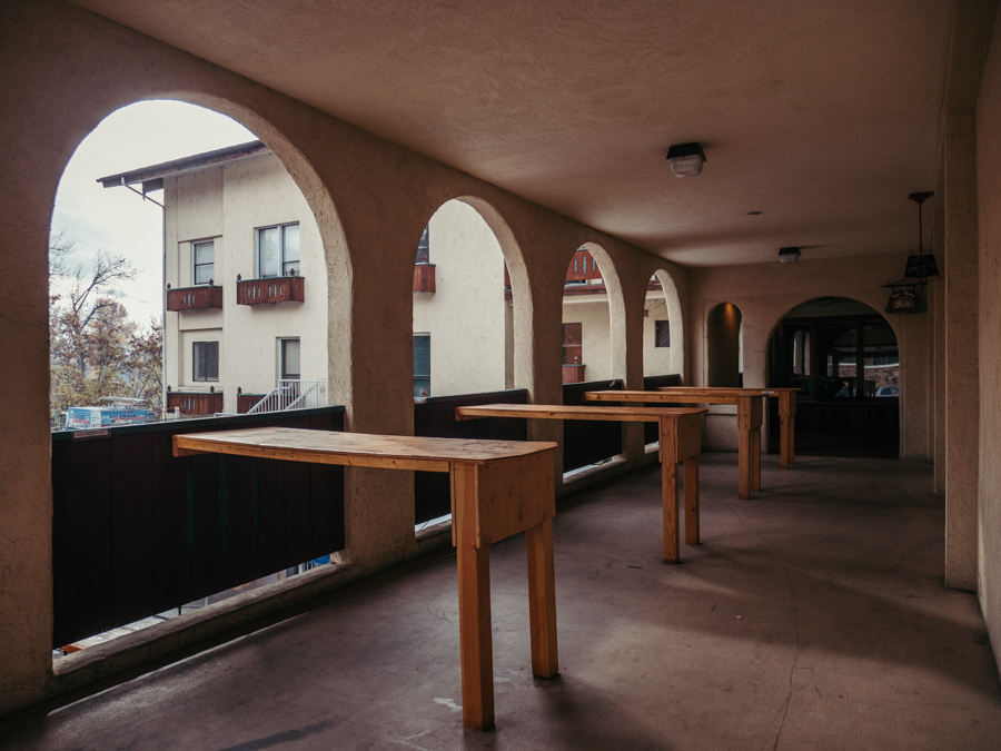 outdoor area with standup tables in bavarian style
