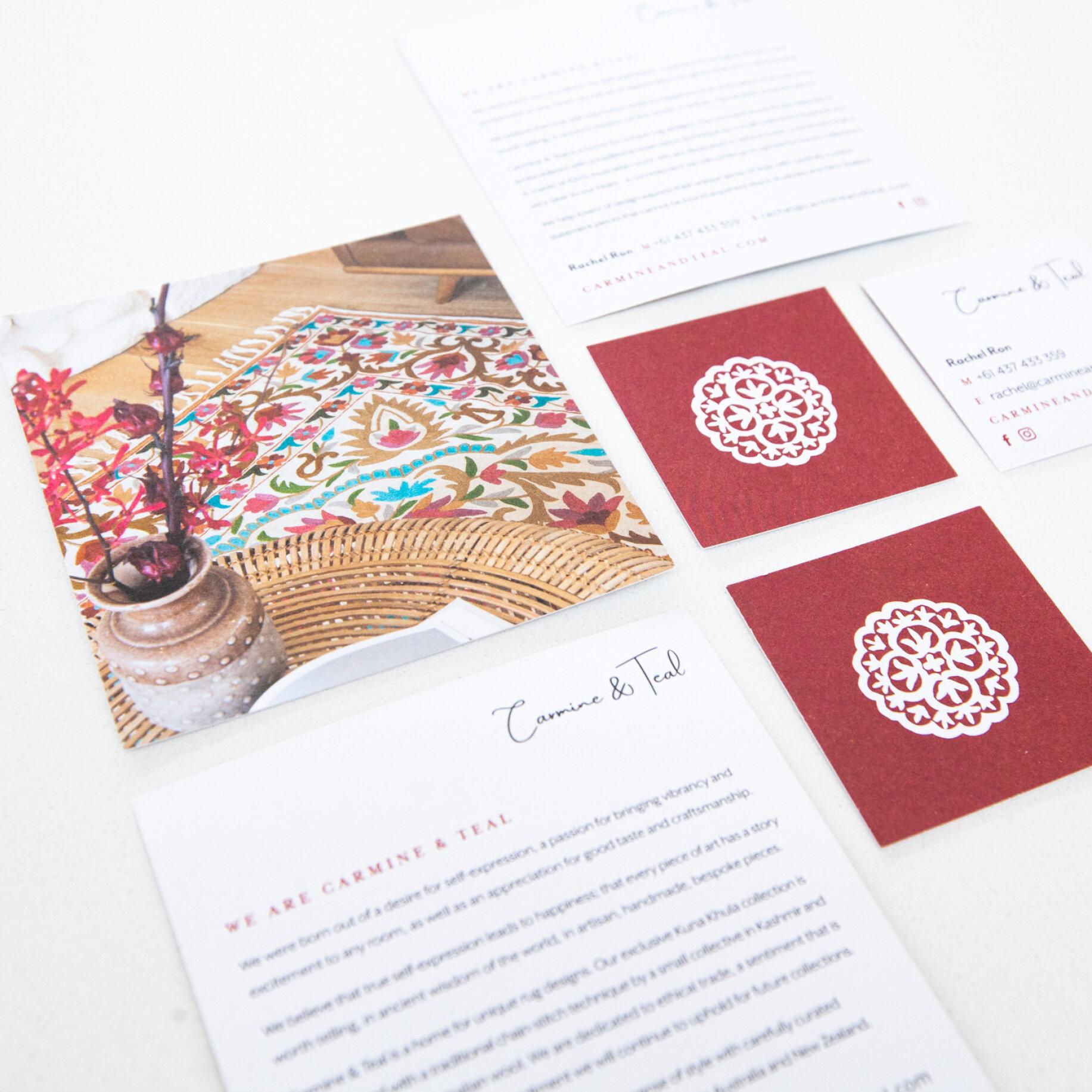 Carmine & Teal Print Design