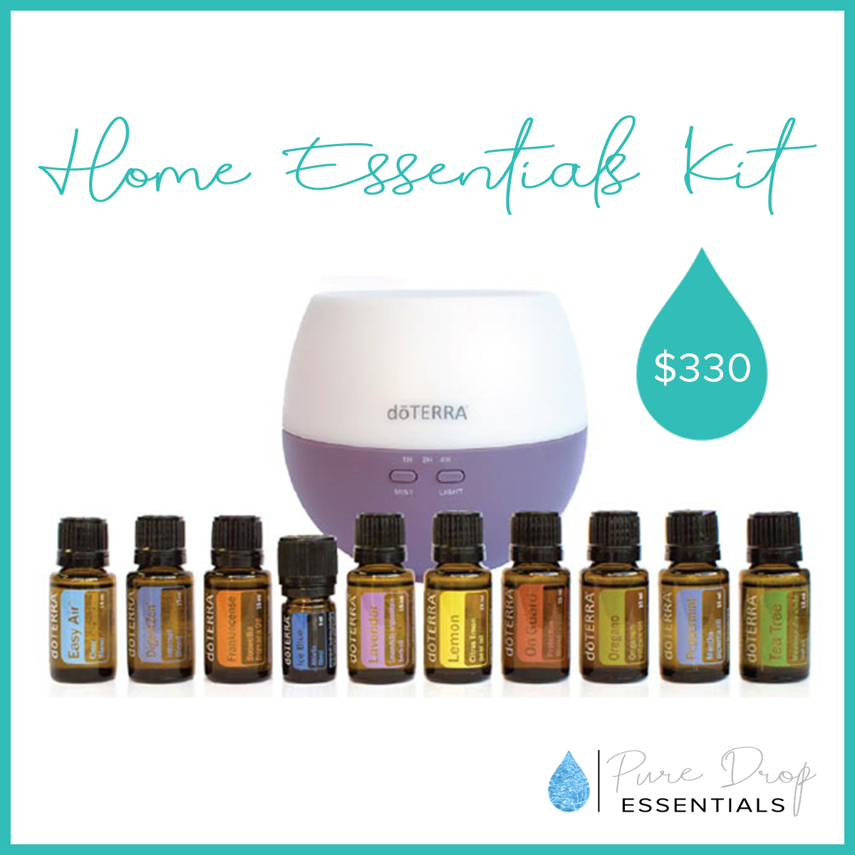 doTERRA's home essentials kit is the most popular starter kit. It contains the 10 most popular doTERRA essential oils in 15ml bottles, along with a bonus petal diffuser
