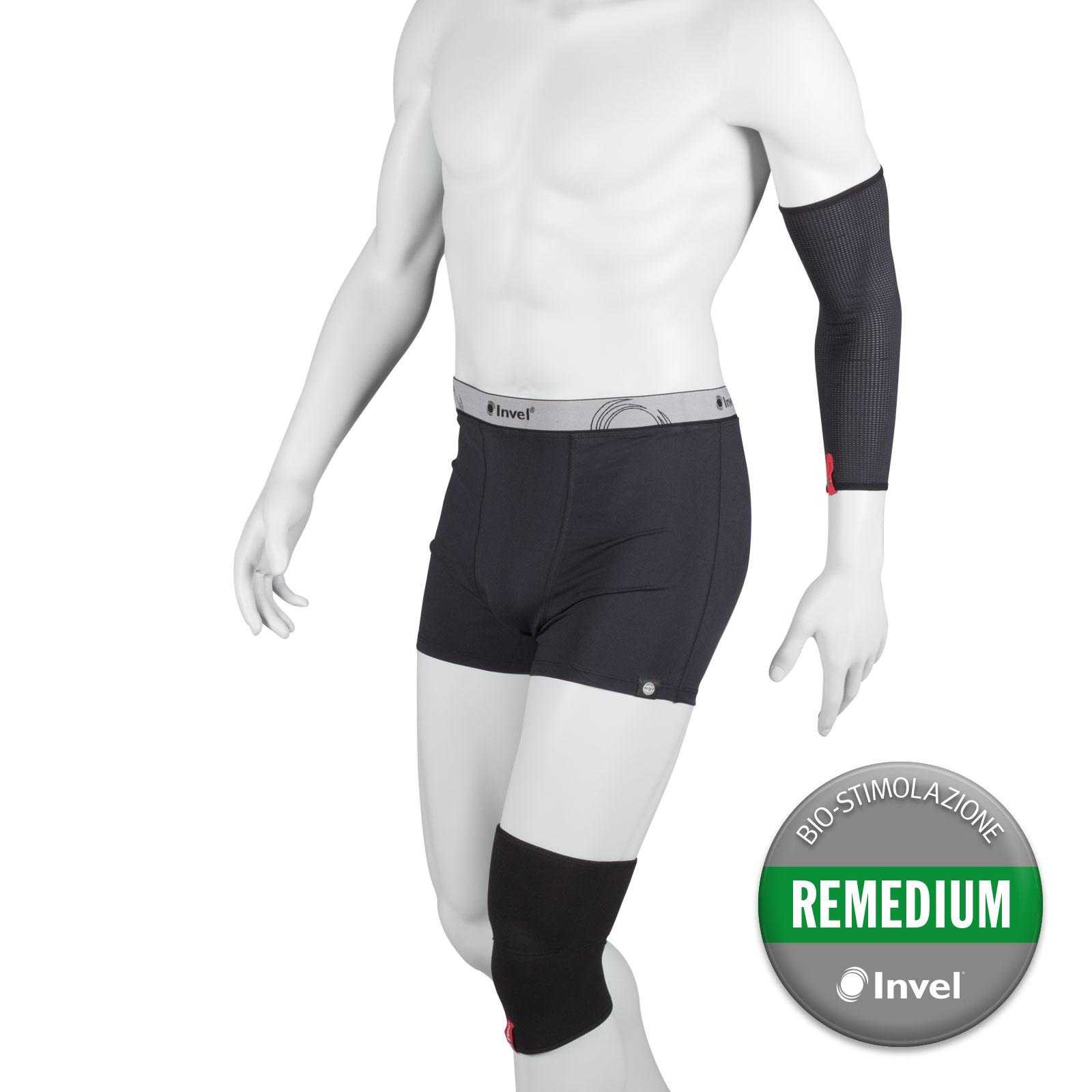 Nell'immagine sopra: tubolare, ginocchiera, boxer con tecnologia di bio-stimolazione della produzione di Ossido Nitrico.