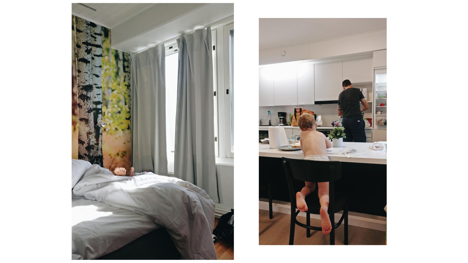 Majoituspaikkoja; Porin  Place to Sleep -hotelli  (vas.) ja Turun  Hiisi Homes .
