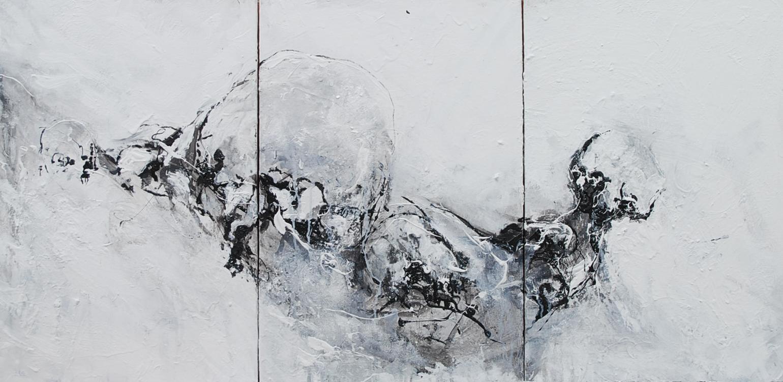 Triptyque 60 x 120 cm  60 x 40 cm la toile  Huile, acrylique, techniques mixtes sur toiles  Châssis simple