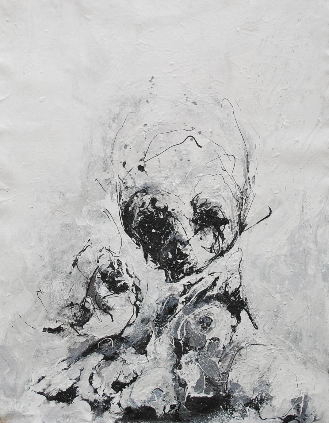 102 x 75 cm  Huile, acrylique, techniques mixtes sur toiles  Châssis simple