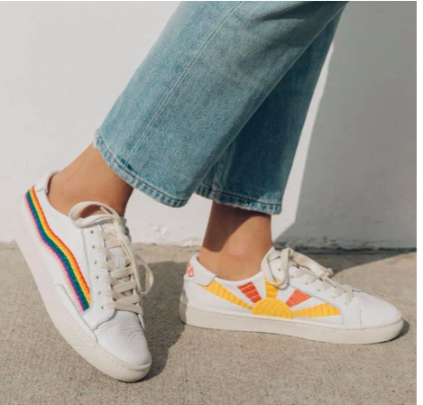 Embroidered Sneaks - If I'm not in my Blundstones you'll most likely find me in comfy white sneakers. I've been loving the embroidered style for a way to spice up the classic look and add an extra pop of color to my look (my wardrobe literally consists of black, green, and white so this is huge!).-Soludos Rainbow Wave Sneaker (Pictured)-Keds Embroidered Rosalie Sneaker-Saludos Peace Out Sun Sneaker