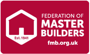 Red and white federation of master builders logo